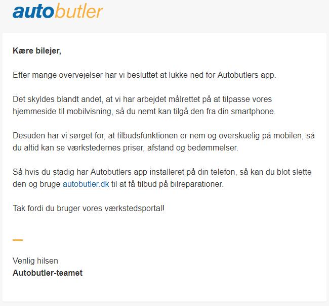 Autobutler lukker deres app